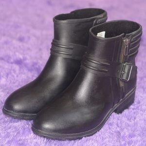 SPERRY Black Waterproof Rubber Boots with Buckle 9